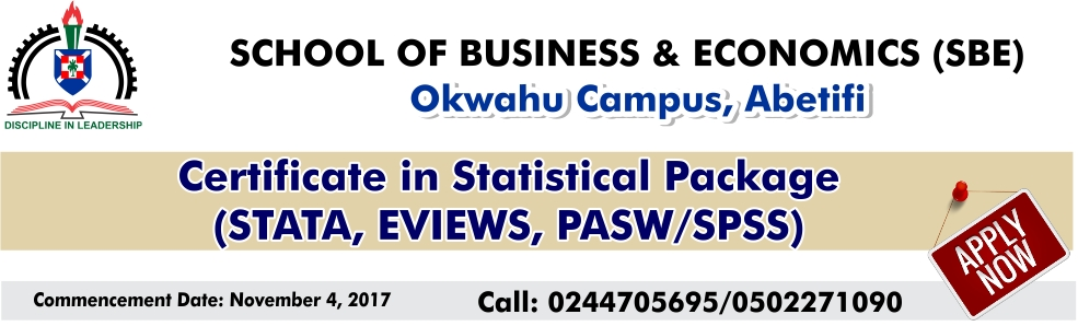 Certificate in Statistical Package (STATA, EVIEW,PASW, SPSS