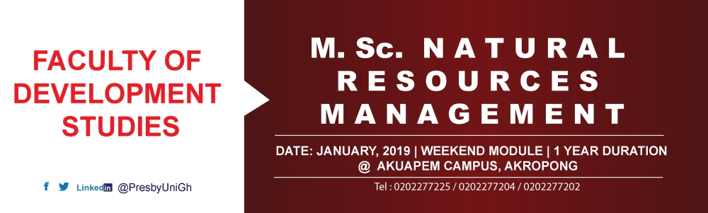 MSc  Natural Resources Management | Presbyterian University
